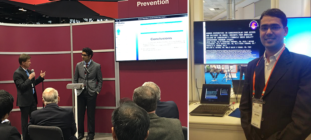 Drs. Vikas Thakran, MD, DM and Ankur Kalra, MD, FACP, FACC presenting their findings from the American College of Cardiology's PINNACLE